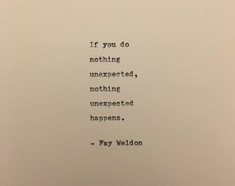 Fay Weldon quote hand typed on antique typewriter