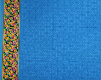 "Upholstery Fabric, Tribal Print, Blue Fabric, Quilting Fabric, Sewing Crafts, 42"" Inch Cotton Fabric By The Yard ZBC6409"
