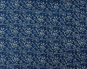 """Quilting Fabric, Floral Hand Block Print, Sewing Decor Fabric, Blue Fabric, 44"""" Inch Cotton Fabric By The Yard ZBC8839A"""