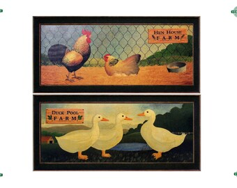 Set of 2 - 24x12 Vintage CANVAS Poultry Prints, Duck Pool Farm & Hen House Farm, Unframed/Framed, Kitchen Art, Rooster, Chicken, Print Set