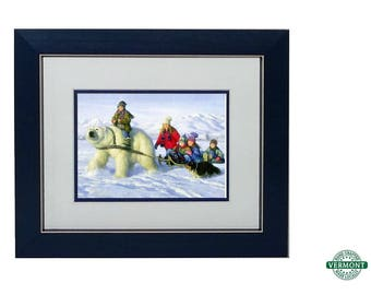 Visitor from Up North Art Print by Robert Duncan, Snow Scenes, Kids Riding Polar Bear, Sled, Winter Scenes, Country Christmas, Bob Duncan