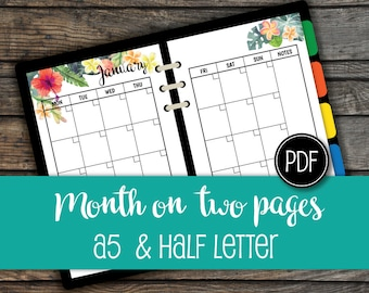 12 months Half Letter Planner Inserts,Month On 2 Pages,A5 Filofax,Monthly Planner,Printable PDF,Monthly Organizer,Instant Download #halfA001