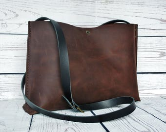 Chocolate leather shoulder bag, leather purse, leather crossbody bag, leather handbag