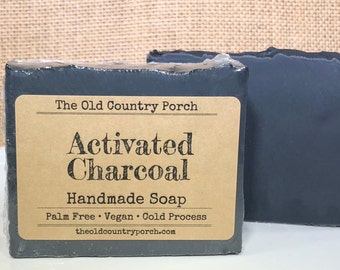 Activated Charcoal Soap, Unscented Natural Soap, All Natural Soap, Handmade Soap, Detox Soap, Vegan Soap, Palm Free Soap