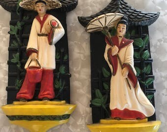 1950s Asian Chalkware Pagoda Wall Plaques Hanging Atomic Mid Century