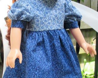 "18"" ag doll light and dark blue dress, short blue doll dress, ag short sleeve doll dress, full skirt doll dress, 2 tone blue doll dress"