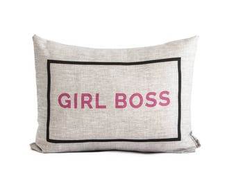 Girl Boss Throw Pillow, Entrepreneur, Boss Lady, New Job gift, Gift for Her, Decorative Pillows, Birthday gifts for her