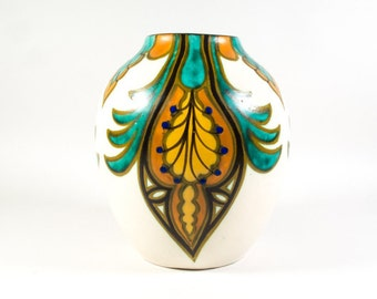 Art Deco Thulin vase, Thulin Belgium 92, Art Deco 1930s vases