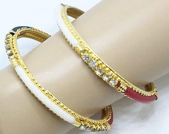 Goldplated Multicolored Kangan in Pair/Multi colored bracelet/Boho Bangle Bracelet/ India Bracelet/Boho Bangle Bracelet/Bracelet from India