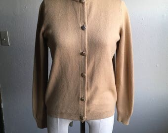vintage 60s ballantyne of peebles pure cashmere made in scotland cardigan button up sweater