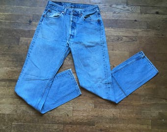 vintage levis 501 xx button fly red tab silver tab high waist faded denim blue jeans 30 x 33