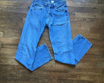 vintage levis 501 xx red tab silver tab button fly high waist faded denim blue jeans