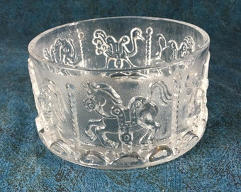 Vintage Pressed Glass Menagerie Carousel Trinket Bowl, Merry Go Round Candy Dish