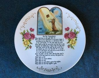 "Vintage ""Ten Commandments"" Decorator Plate, Religious Gift"