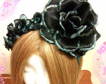 Day Of The Dead, Halloween Headband, Adult Or Child, Black Headpiece, Flower Crown, Rose Headdress, Gothic Hairpiece, Flexible Fits Ages 4+