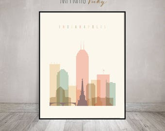 Indianapolis print, Poster, Wall art, Indiana cityscape, Indianapolis skyline, City poster, Typography art, Digital Print, ArtPrintsVicky