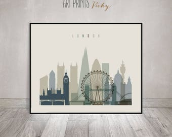 Merveilleux London Skyline, London Wall Art, London Print, Poster, England, UK,
