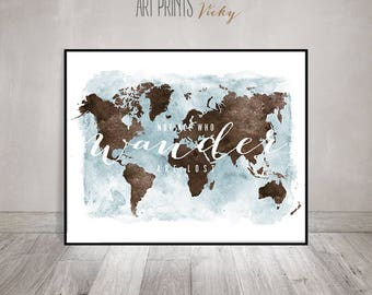 "world map wall art poster ""not all who wander are lost"" 