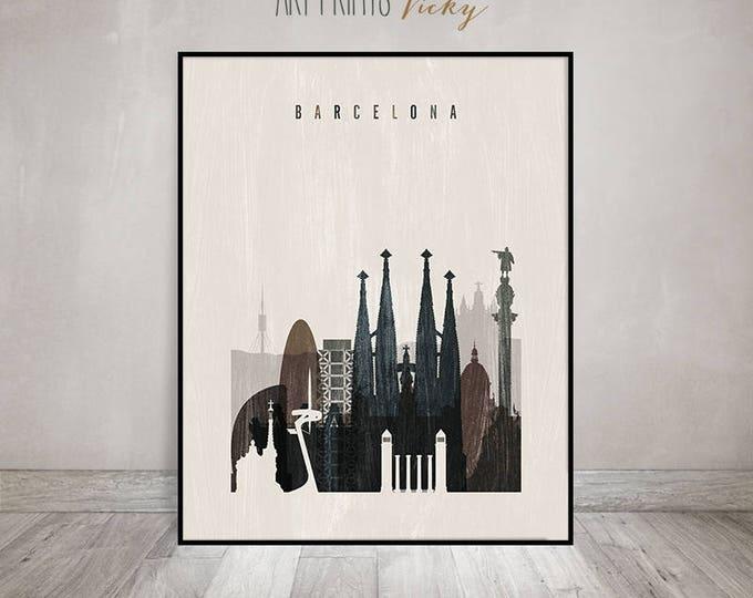 Barcelona poster, Barcelona skyline, Barcelona art print, poster, Travel, Wall art, Spain, distressed art, Home Decor, Gift, ArtPrintsVicky