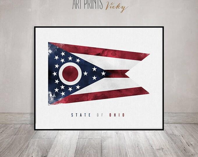 Ohio art flag, art print, Office decor, Wall art, flag painting poster, United States flag, travel gift, home decor, ArtPrintsVicky