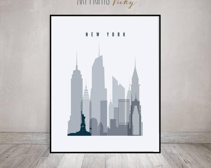 New York skyline art print, Poster, Wall art, Travel decor, City poster, Typography art, Gift, Home Decor, Digital Print ArtPrintsVicky.