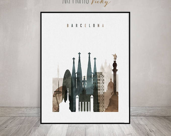 Wall art Barcelona print, watercolor poster, Travel poster, Barcelona skyline, housewarming gift, Spain, home decor, ArtPrintsVicky
