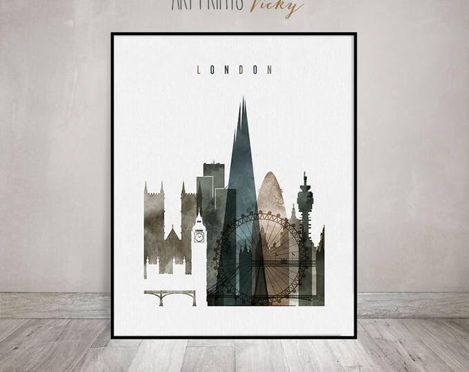 London poster, Wall art, London watercolor print, London skyline, UK, England, city art, wall decor, wall prints, gift, ArtPrintsVicky