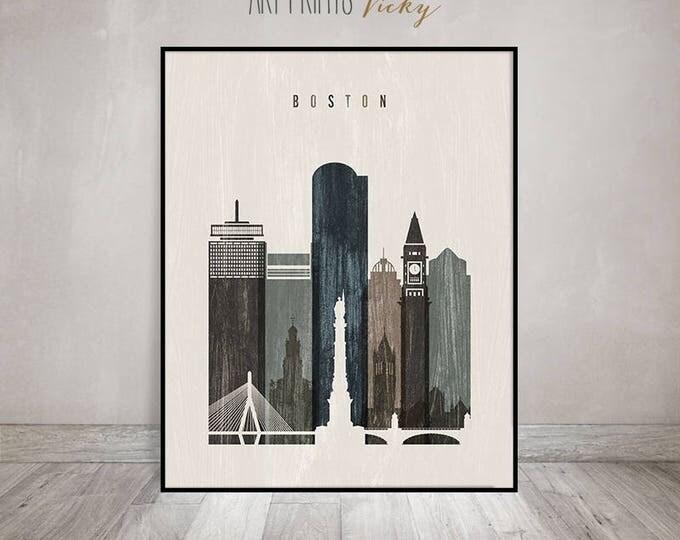 Boston wall art, Boston skyline, print, distressed poster, travel decor, Massachusetts, City print, Wall decor, Home Decor, ArtPrintsVicky