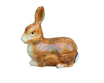 Rabbit Faience Terrine by Michel Caugant - Foie Gras Pate Dish - French Bunny Rabbit Box - French Country Cottage Kitchen Decor