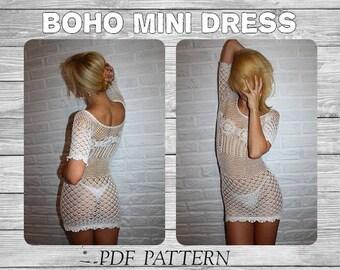 Crochet Dress Pattern/ Crochet Boho Dress/ Crochet Mini Dress/ Crochet Cover Up/ Crochet Beach Dress/ Beach Crochet  Boho Tunic/  Boho Dress
