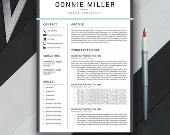 Professional Resume Template, CV Template, Cover Letter, MS Office, Mac, PC, Creative Simple Modern Teacher Resume, Instant Download, Connie