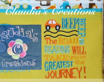 Beep, Beep! Embroidery Saying, The road to reading will take you on the greatest journey Embroidery Saying, Pocket Pillow Saying
