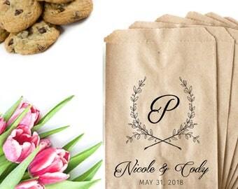 Wedding Favor Bag Stamp - Monogram Wedding Stamp - Cookie Bag Stamp - Wreath Wedding Logo - Wedding Logo Design - Monogram Wedding Favor