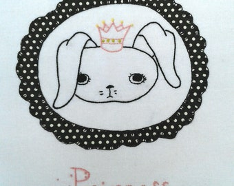Princess Rabbit Embroidery Pattern with Optional Applique