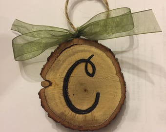 Wood Slice Ornament. Christmas Tree Ornament, Personalized Letter Ornament, Wood Burned, Gift Tag