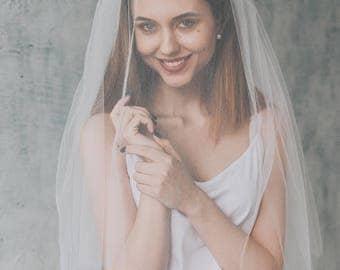 CHARMING   Veil with blusher, veil, wedding veil, drop veil, ivory veil, white veil, bridal veil, veil wedding