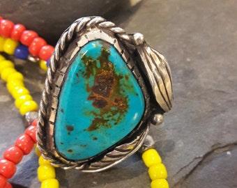 Huge Vintage Sterling Navajo Turquoise Ring