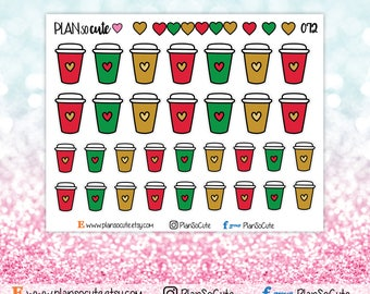 Doodle Coffee Stickers, Christmas Coffee Stickers, But first coffee, Planner Stickers -072