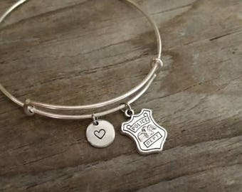 Police Shield Badge Bangle Bracelet - Policeman Gift - Policewoman Gift - Police Wife - I/B/H