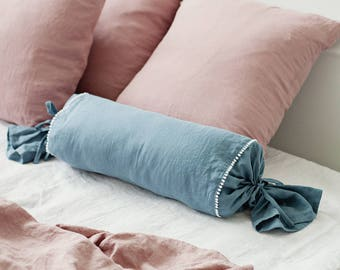linen bolster pillow cover with white pom poms linen candy pillow in 12 colours