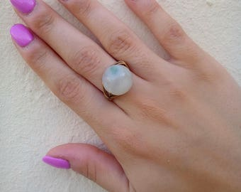 Blue Agate Bronze Ring, Agate Ring, Gemstone Ring, Bronze Ring, Tarnish Resistant Ring, Wire Wrapped Ring