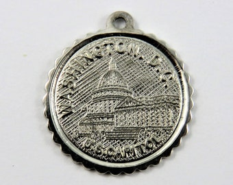 Washington D.C. U.S. Capitol Sterling Silver Charm of Pendant.