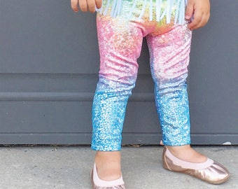 Unicorn baby leggings, baby girl unicorn leggings, rainbow sparkle leggings, sparkle baby leggings, unicorn birthday outfit, unicorn baby