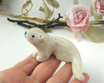Otter Totem. Handmade Earthenware Clay Miniature Plant Pot Decor, Cake Topper, One Of A Kind Keepsake, Boho Gift