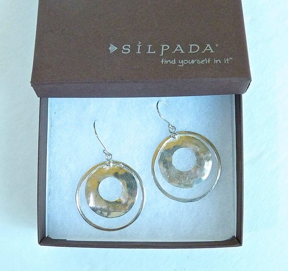 "SILPADA CIRCLE HOOP Earrings - W1322 - Hammered Sterling Silver Circle Hoop ""Perspectiva"" Earrings - New In The Box - Retired Vintage"