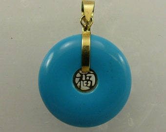 Reconstituted Turquoise 18.8 mm Pendant 14k Yellow Gold