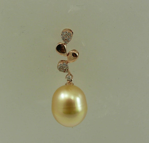 South Sea Golden Pearl 12.0 x 14.2 mmPendant with Diamond 0.13ct 18K Pink Gold