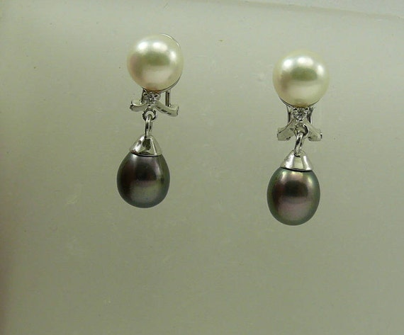 Akoya White and Freshwater Black Pearl Earrings 14k White Gold with Diamonds