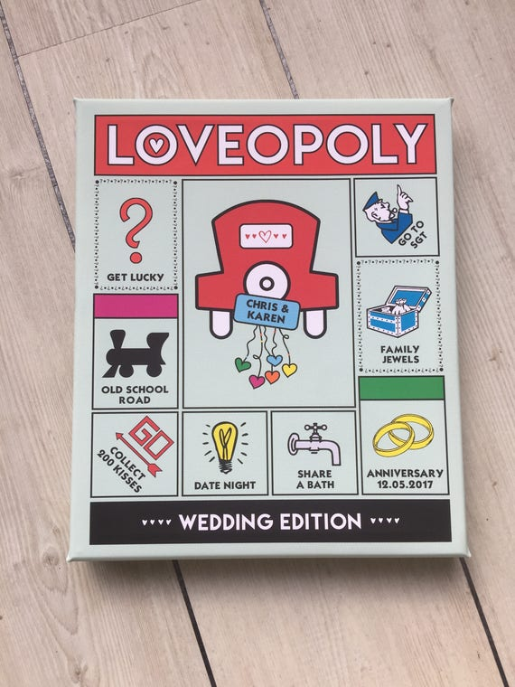Personalised LOVEOPOLY Canvas / Mounted Print - Anniversary / Wedding Gift / Engagement Gift / New Home Gift