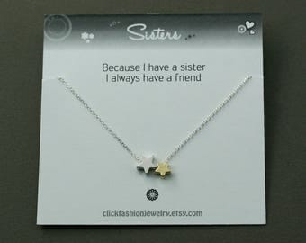Sister jewelry, Sisters necklace, sister gift, 2 stars necklace, birthday gift, bridemaids gift, fiendship jewelry, anniversary